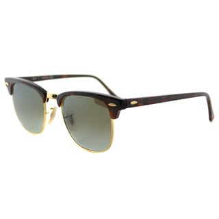 Ray-Ban RB 3016 990/9J Clubmaster Red Havana Plastic Clubmaster Sunglasses with Green Flash Gradient Lens