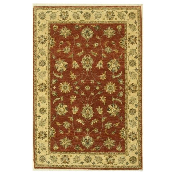 Hand-knotted Wool Brown Traditional Oriental Agra Rug (4'1 x 6'1) - 4'1 x 6'1