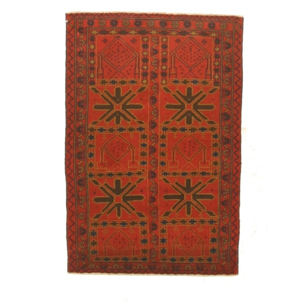 Hand-knotted Wool Red Traditional Geometric Baluchi Rug (2'11 x 4'4)