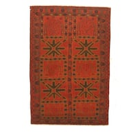 Hand-knotted Wool Red Traditional Geometric Baluchi Rug - 2'11 x 4'4