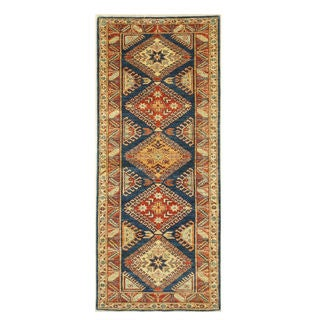 EORC Blue Super Kazak Hand-knotted Wool Rug (2'11 x 6'11)