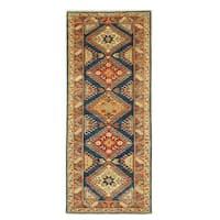Hand-knotted Wool Blue Traditional Geometric Super Kazak Rug (2'11 x 6'11)