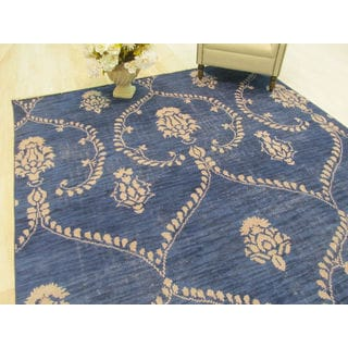 EORC Royal Blue Wool Hand-knotted Rug (8' x 10')
