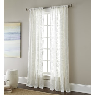 Sherry Kline Ferndale Luxury White Embroidered Sheer Curtain Panel Pair