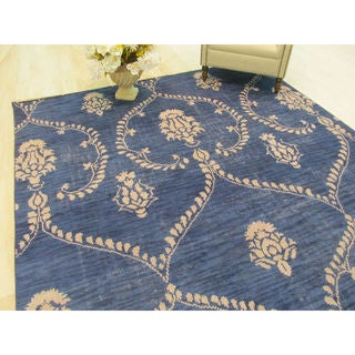 Hand-knotted Wool Blue Traditional Oriental Royal Rug - 9' x 12'