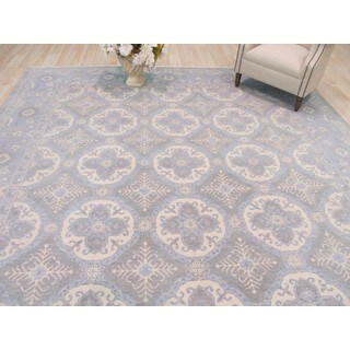 EORC Xotan Blue Hand-knotted Wool Rug (10' x 14')
