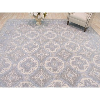 Hand-knotted Wool Blue Traditional Geometric Kotan Rug (10' x 14')