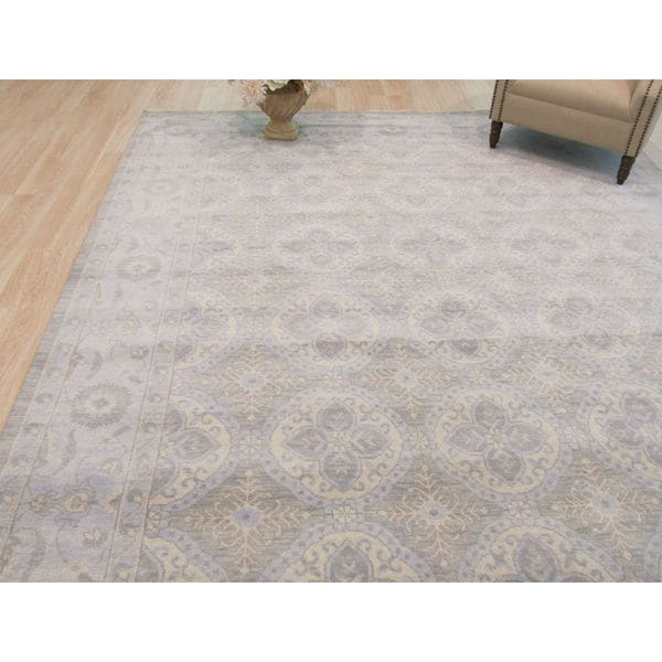 Hand-knotted Wool Blue Traditional Geometric Kotan Rug - 9' x 12'