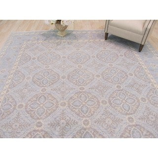 Hand-knotted Wool Blue Traditional Geometric Kotan Rug (9' x 12')