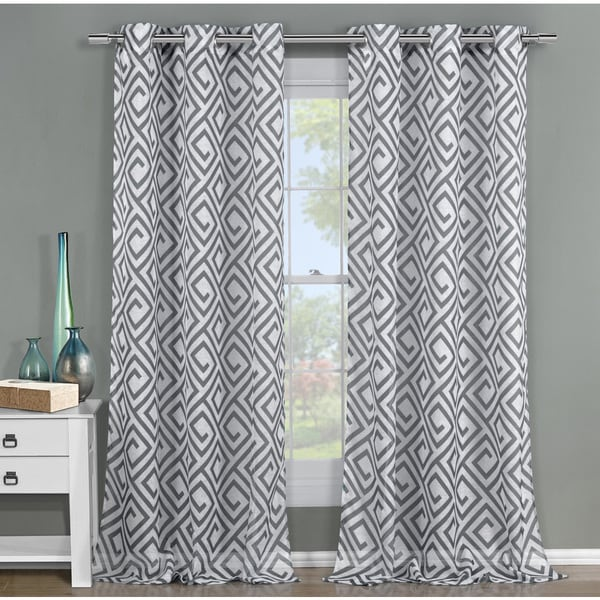 Arcadia 84-inch Graphic Grommet Curtain Panel Pair - Free Shipping ...