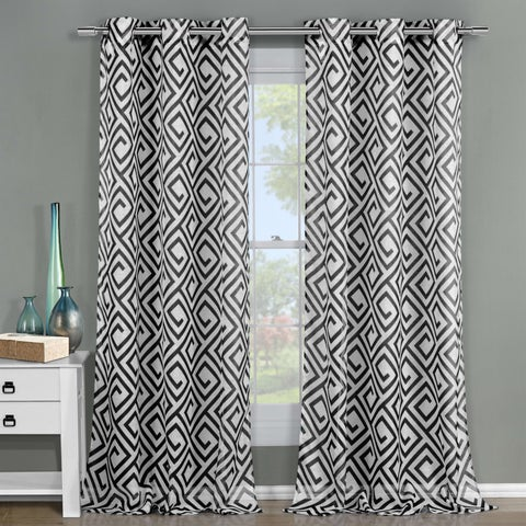 Duck River Anna Sheer 84-inch Graphic Grommet Curtain Panel Pair - 51x84