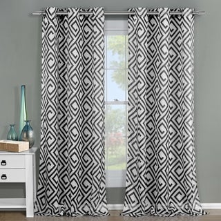 Arcadia Polyester 84-inch Graphic Grommet Curtain Panel Pair