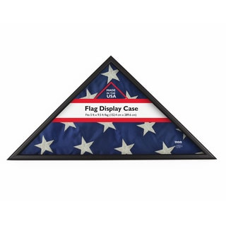 Black Wood Flag Display Case for 5-foot x 9.5-foot Folded Flag