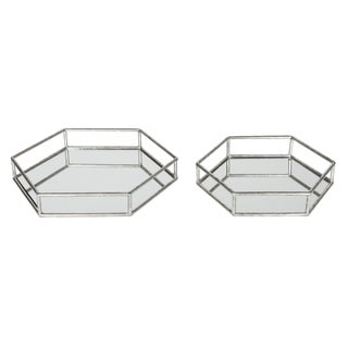 Kate and Laurel Felicia Decorative Mirrored Tray (Option: 14x14 - Silver)