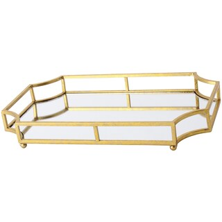 Gold Metal, Glass Mirrored Decorative Tray (2 options available)