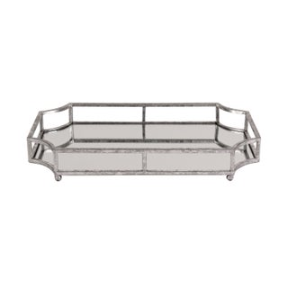 Kate and Laurel Gold Metal/Glass Mirrored Decorative Tray (Option: Silver Leaf Metal Tray)