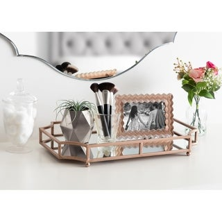Gold Metal, Glass Mirrored Decorative Tray