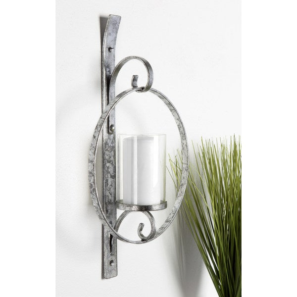 Round Glass and Metal Wall Sconce