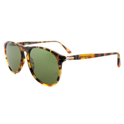 Persol PO 9649S 10524E Icons Madreterra Plastic Aviator Sunglasses Green Lens