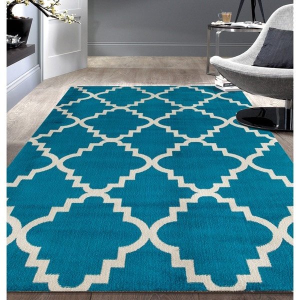 Contemporary Modern Trellis Blue Area Rug - 7'6 x 9'5