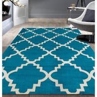 Contemporary Modern Trellis Blue Area Rug (7'6x9'5) - 7'6 x 9'5
