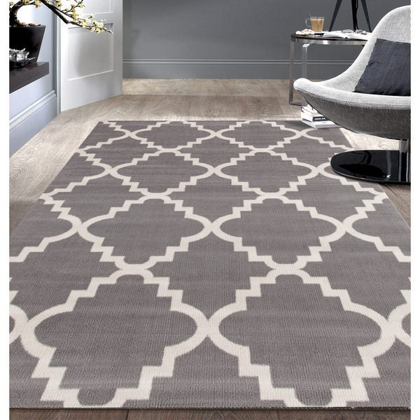 Contemporary Modern Trellis Grey Area Rug 7 6x9 5