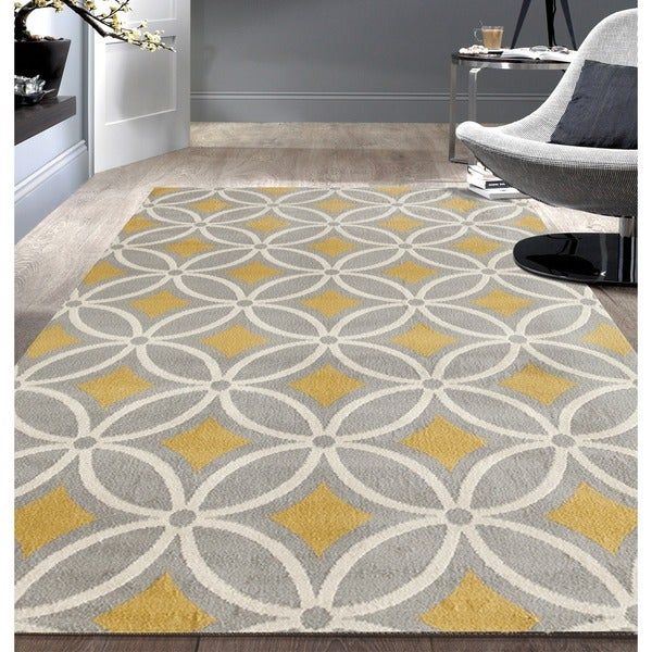 "Contemporary Trellis Chain Grey/ Yellow Area Rug (7'6x9'5) - 7'6"" x 9'5"""