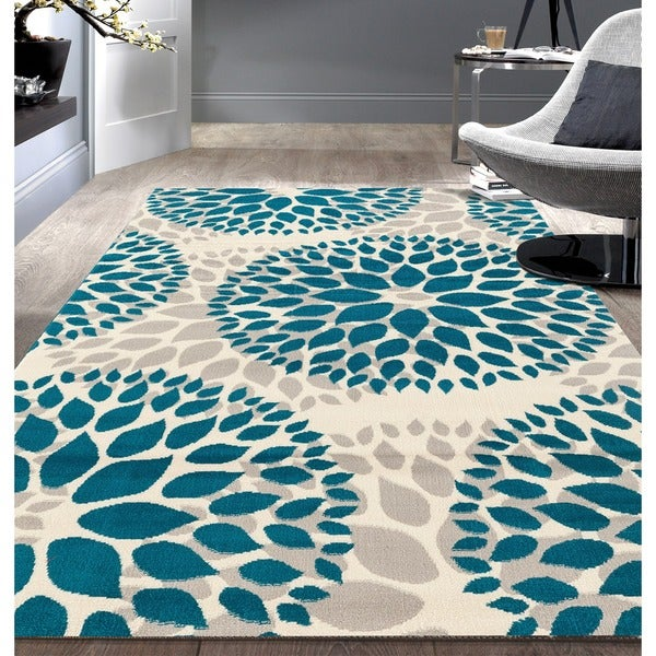 Modern Fl Design Blue Area Rug 7 X27
