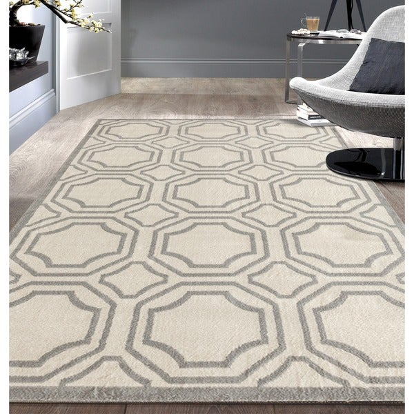 "Modern Geometric Cream Area Rug (7'6x9'5) - 7'6"" x 9'6"""