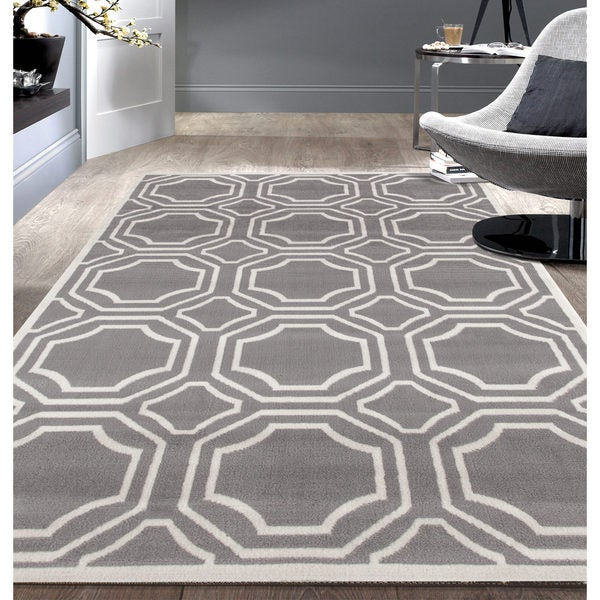 Modern Geometric Grey Area Rug 7 6x9 5 18924483