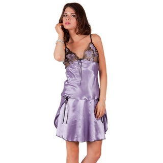 Miorre Women's Lilac Sheer Lace Bust Drop-waist Chemise