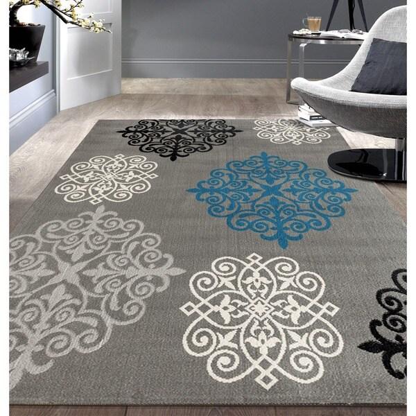 OSTI Grey/Black/Beige Modern Geometric Damask Design Area Rug (7'6 x 9'5)