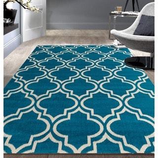 Modern Moroccan Trellis Blue Area Rug (7'6x9'5)