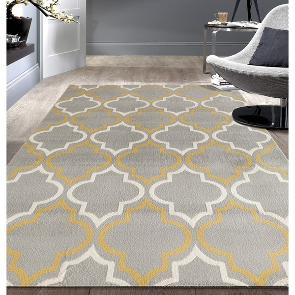 Modern Moroccan Trellis Grey Yellow Area Rug 7 6x9 5