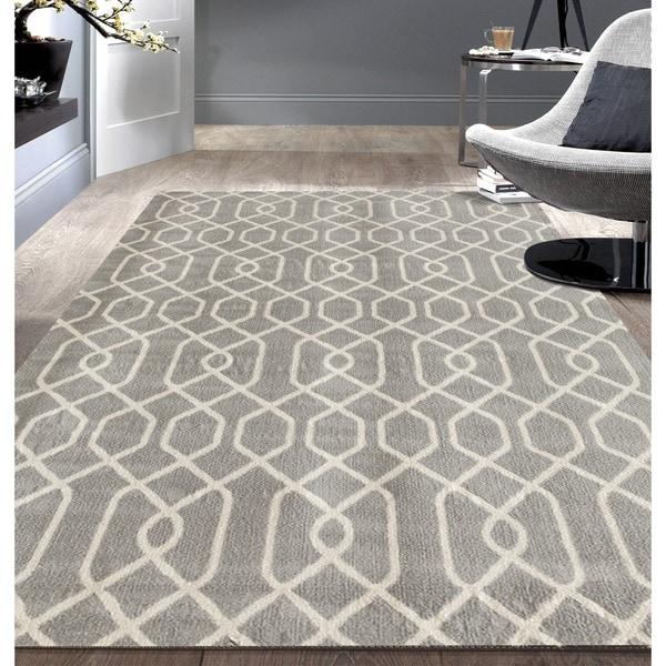 OSTI Grey/White Modern Trellis Patterned Area Rug - 7'6 x 9'5