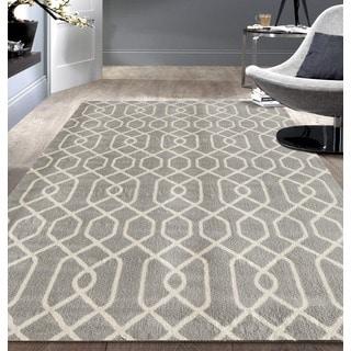 Modern Trellis Pattern Grey Area Rug (7'6 x 9'5)