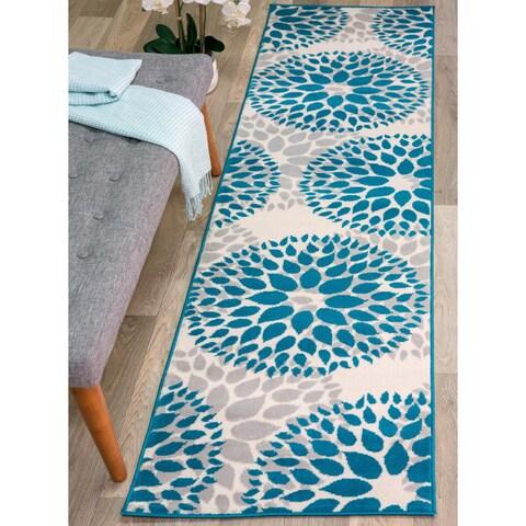 OSTI Blue/Grey/Beige Floral Design Modern Runner Rug - 2'x7'2
