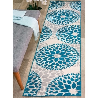 Modern Floral Design Blue Runner (2'x7'2)