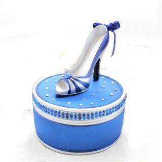 Elegant Rose Blue Shoe Jewelry Box
