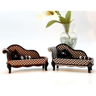 Retro Black and White Plaid Plastic and Fabric Lounge Chair Ring Holder