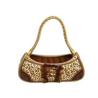 Brown and Gold Fabric and Plastic Cheetah Handbag Ring Holder