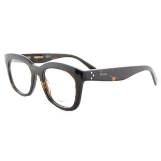 Celine CL 41378 086 Dark Havana Plastic 48-millimeter Square Eyeglasses