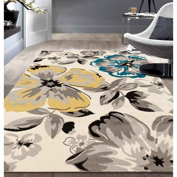 modern floral circles cream area rug