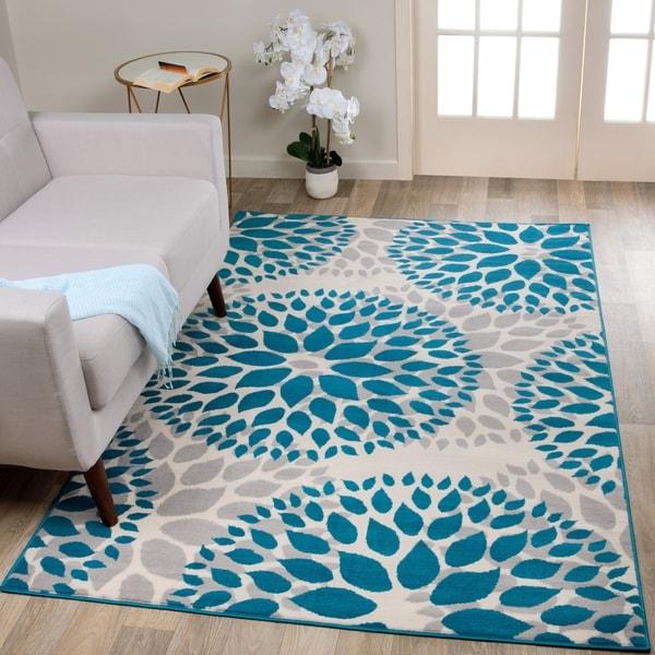 Shop Modern Floral Design Blue Area Rug - 5' x 7' - Free ...
