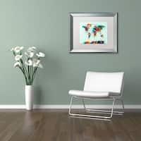 Michael Tompsett 'World Map Paint Splash' Matted Framed Art