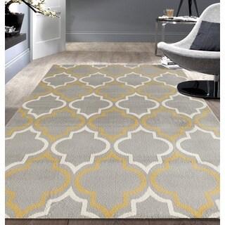 Porch & Den Marigny Spain Trellis Grey/ Yellow Area Rug (5' x 7')