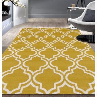 Modern Moroccan Trellis Yellow Area Rug (5'x7')
