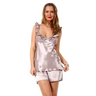 Miorre Women's Purple Polyester Satiny Ruffle V-neck Tank and Shorts Pajama Set