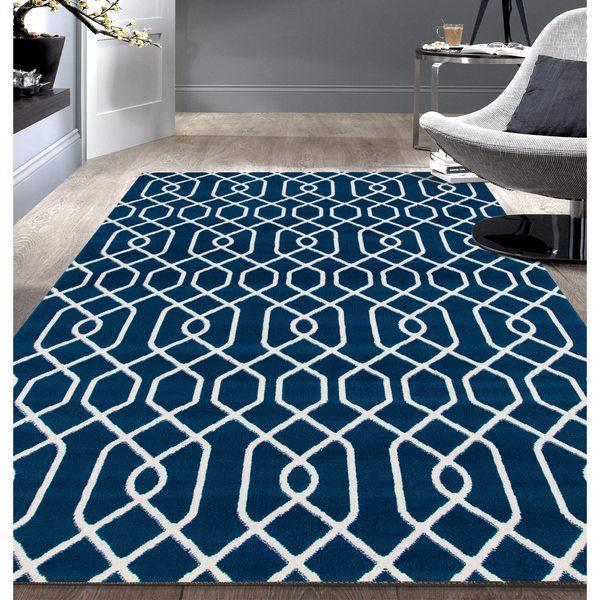 Modern Trellis Pattern Blue Area Rug 5 X7 18924528