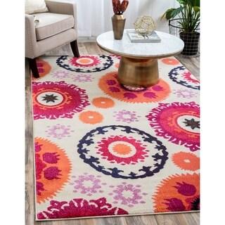 Unique Loom Turkish Barcelona Beige/Red/Orange/Pink Polypropylene Rug (10'5 x 16'4)